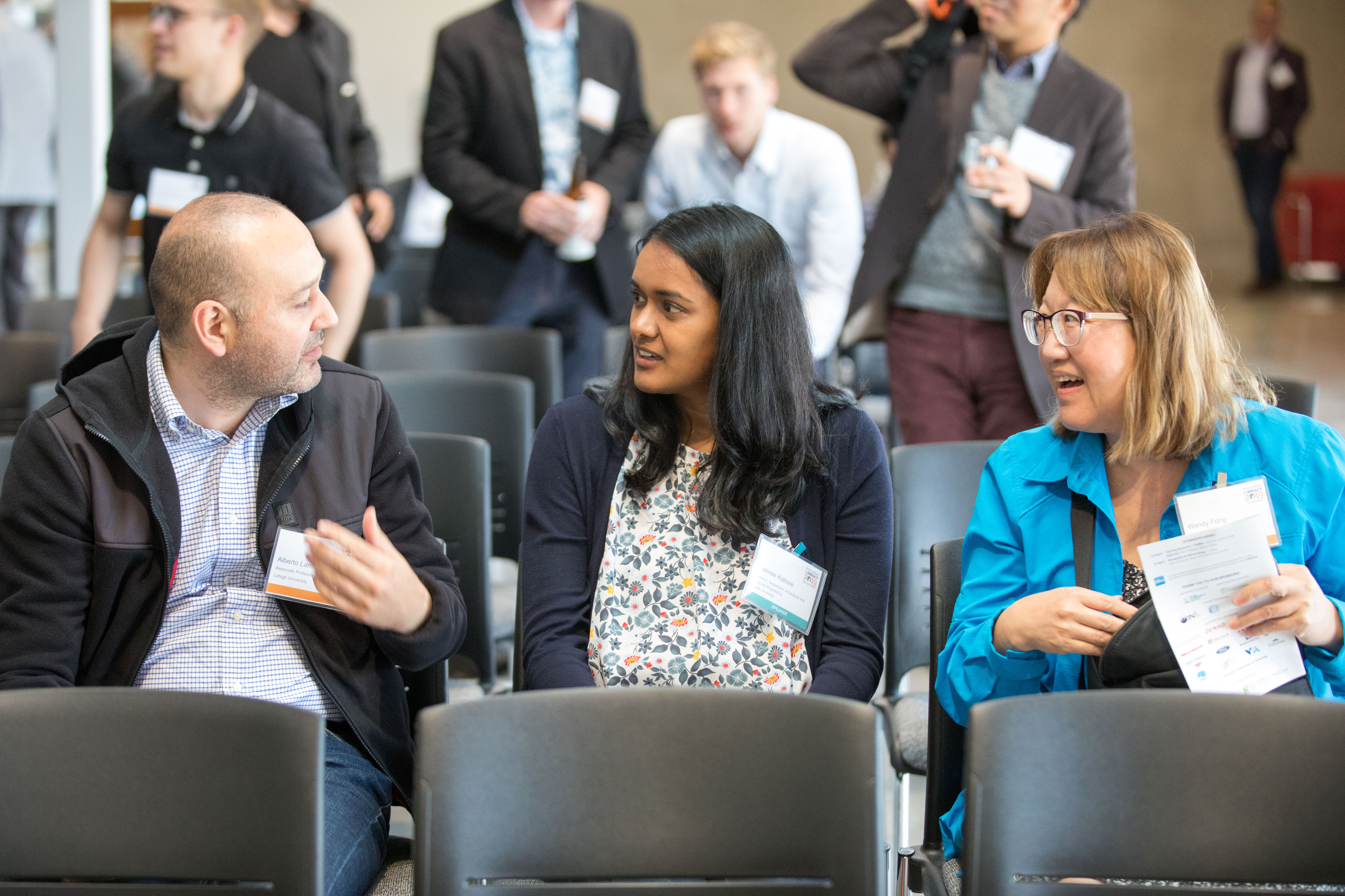 I-CPIE faculty Alberto Lamadrid (left), I-CPIE Associate Director Shalinee Kishore (center) and Wendy Fong, Director of Industry Engagement for Lehigh's Western Regional Office (right) at the 2019 Innovation and Impact Symposium in San Leandro, CA. (Prospect Silicon Valley photo by Ross Marlowe from Eversnap).