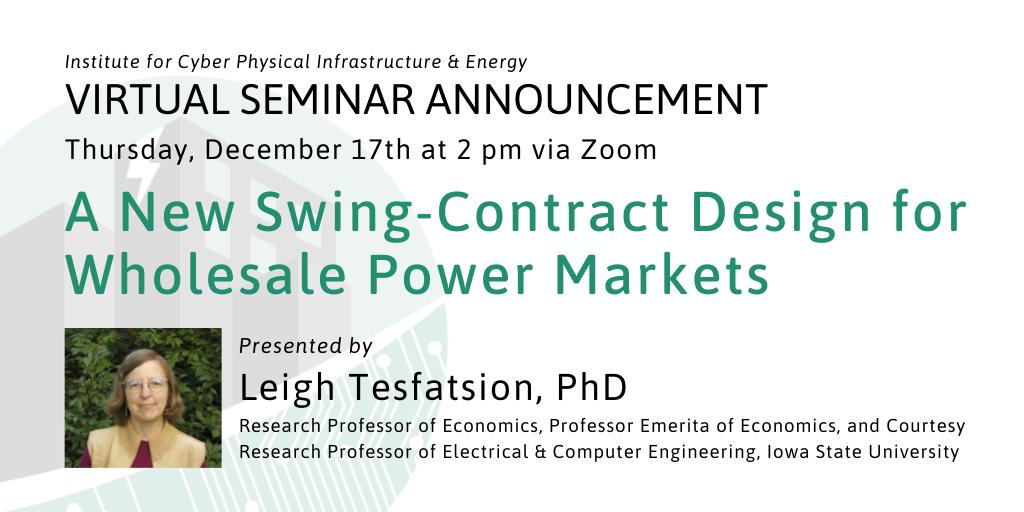 Leigh Tesfatsion seminar announcement