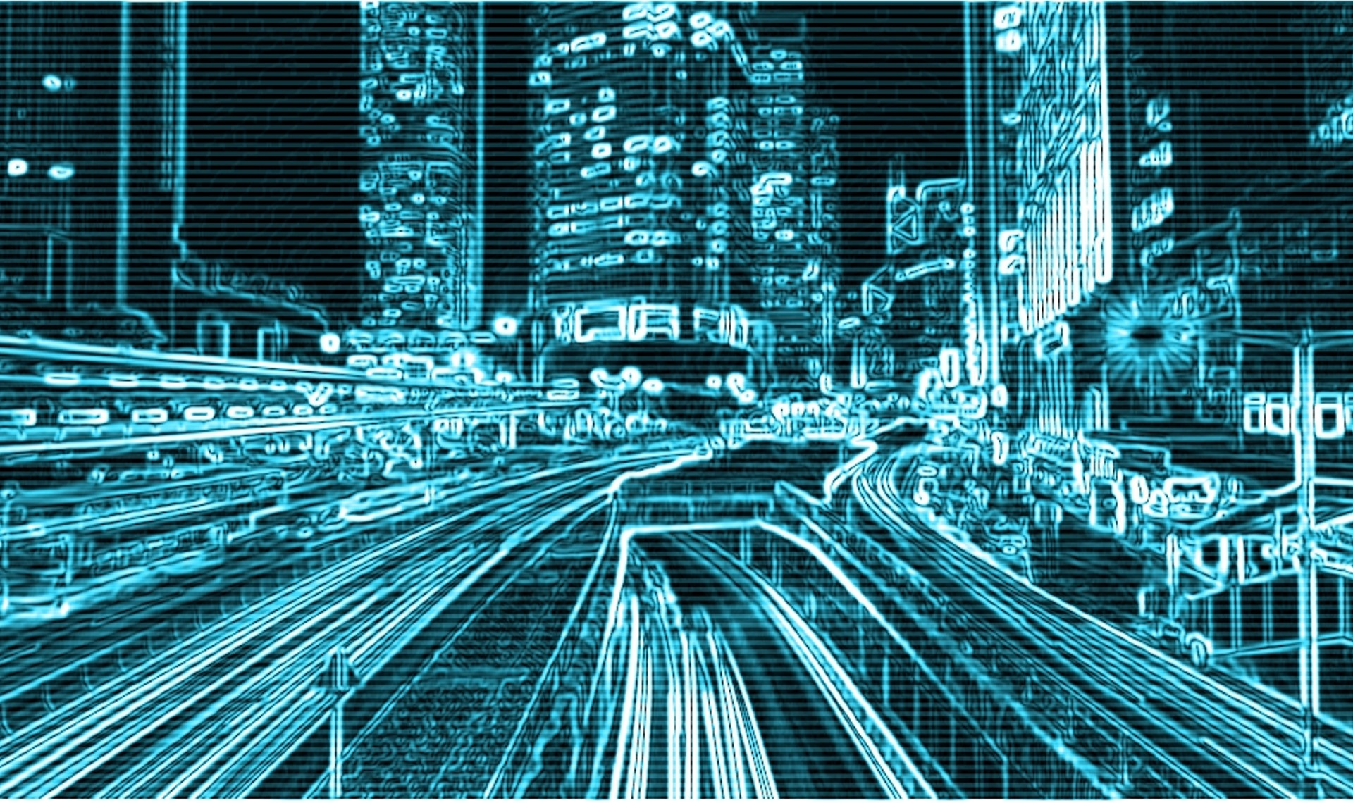 teal cyber image of a city