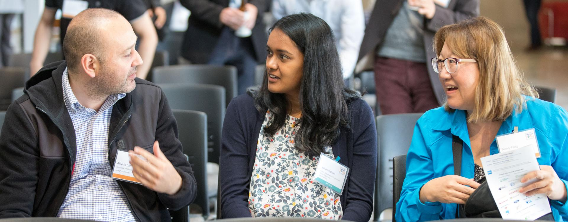 I-CPIE faculty Alberto Lamadrid (left), I-CPIE Associate Director Shalinee Kishore (center) and Lehigh's Western Regional Office Director Wendy Fong (right) at the 2019 Innovation and Impact Symposium in San Leandro, CA. (Prospect Silicon Valley photo by Ross Marlowe from Eversnap).